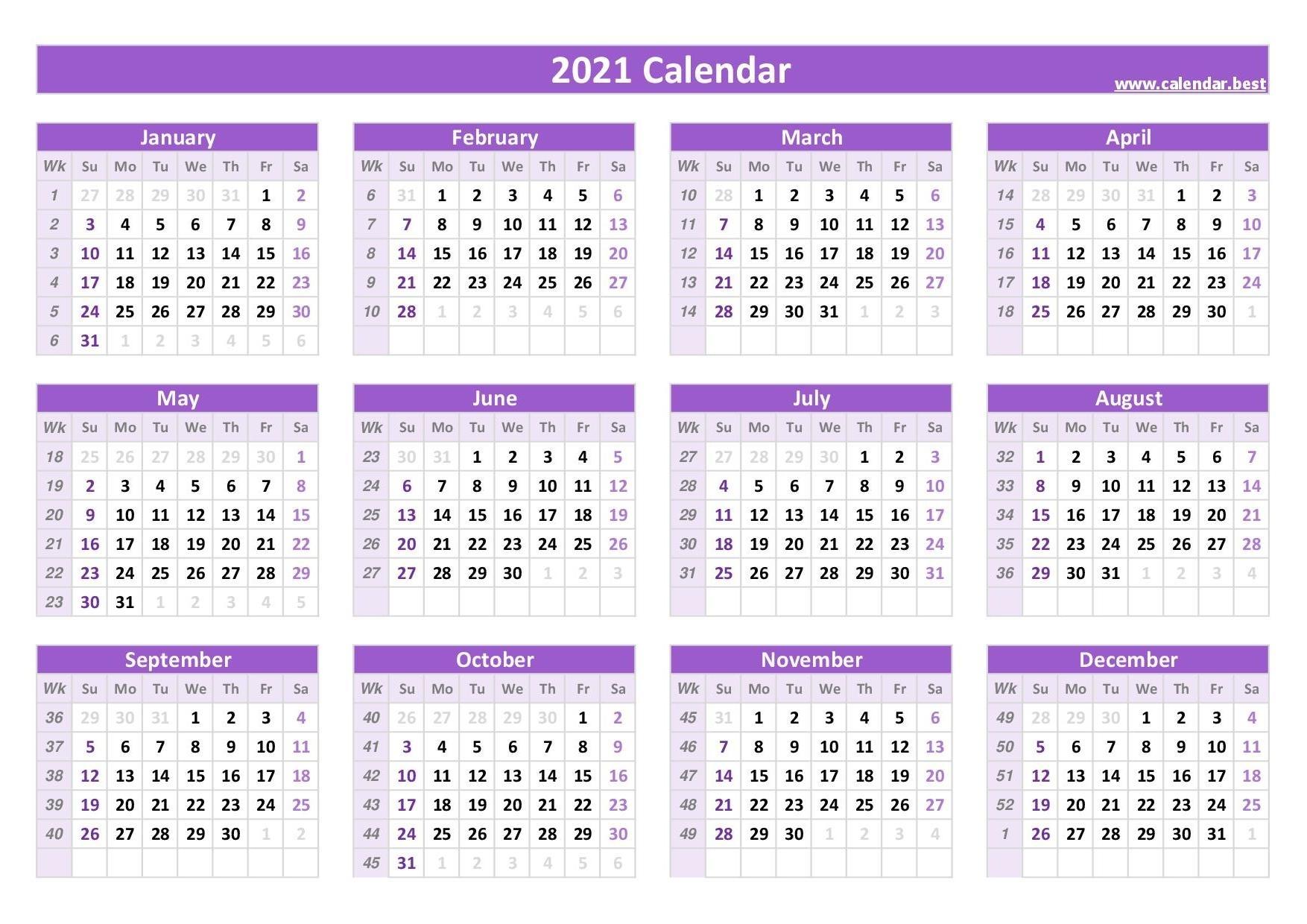 2021 Calendar With Week Numbers -Calendar.best