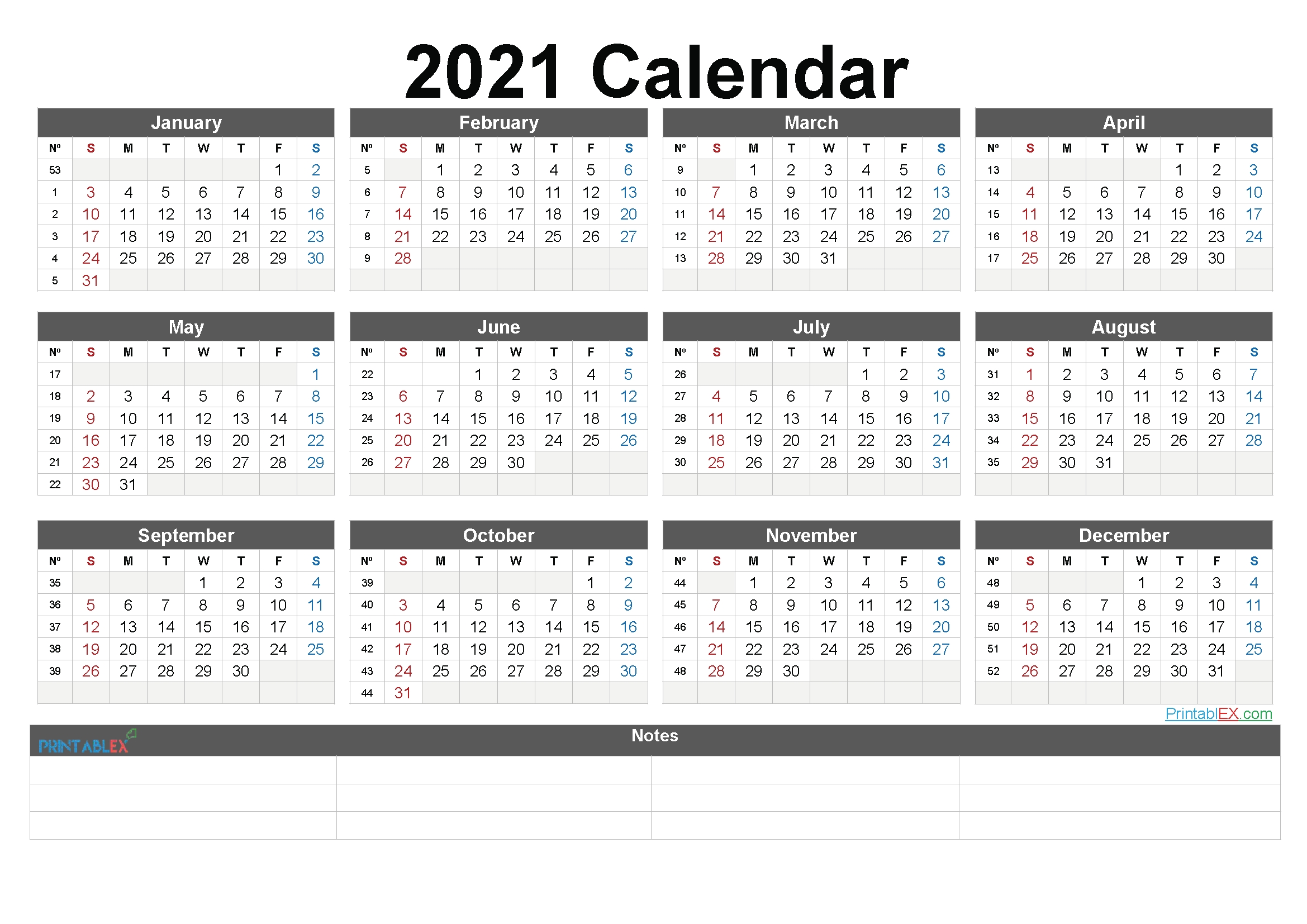 2021 Calendar With Week Numbers Philippines | Free