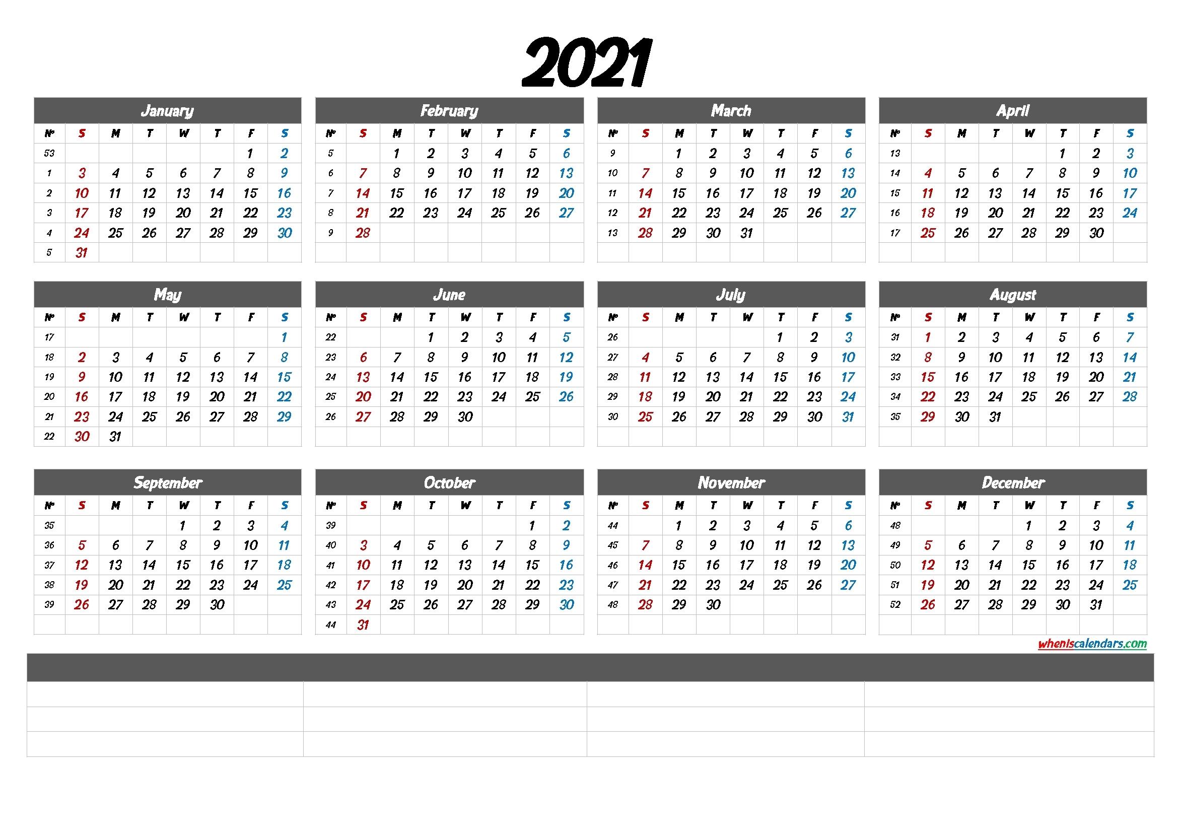 2021 Calendar With Week Numbers Printable (6 Templates