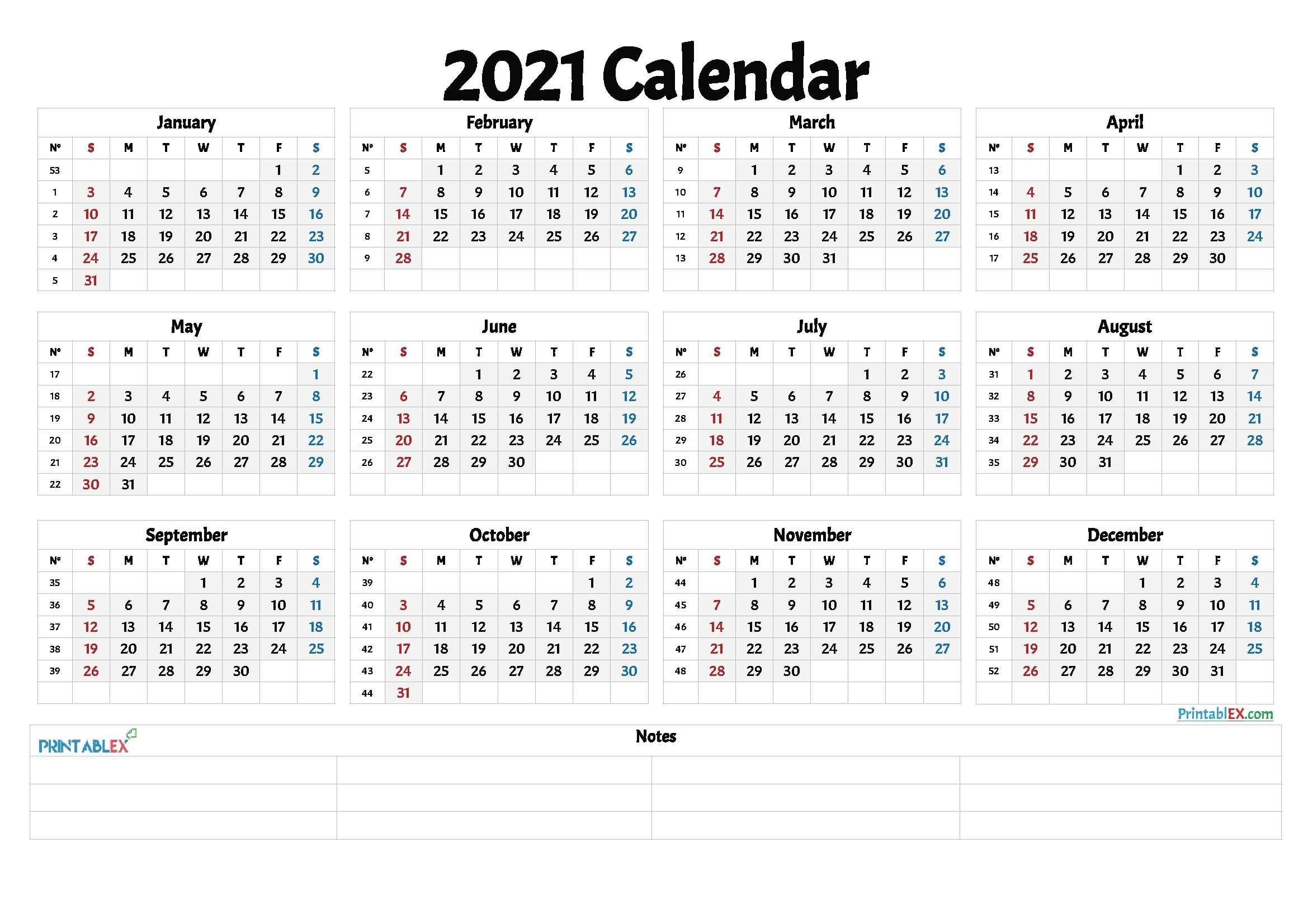 Calendar Excel 2021