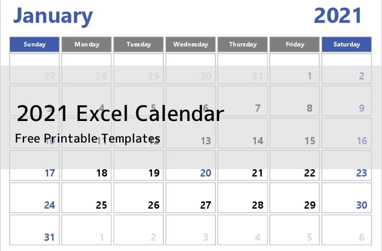 2021 Excel Calendar | Free Printable Templates