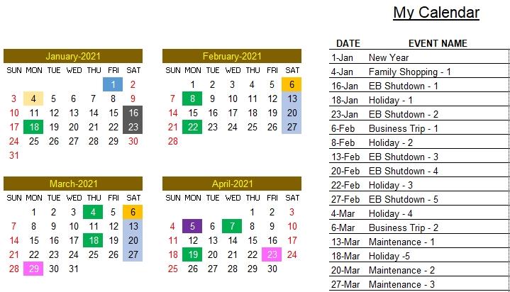 2021 Excel Calendar Template - Excel Calendar 2021 Or Any Year