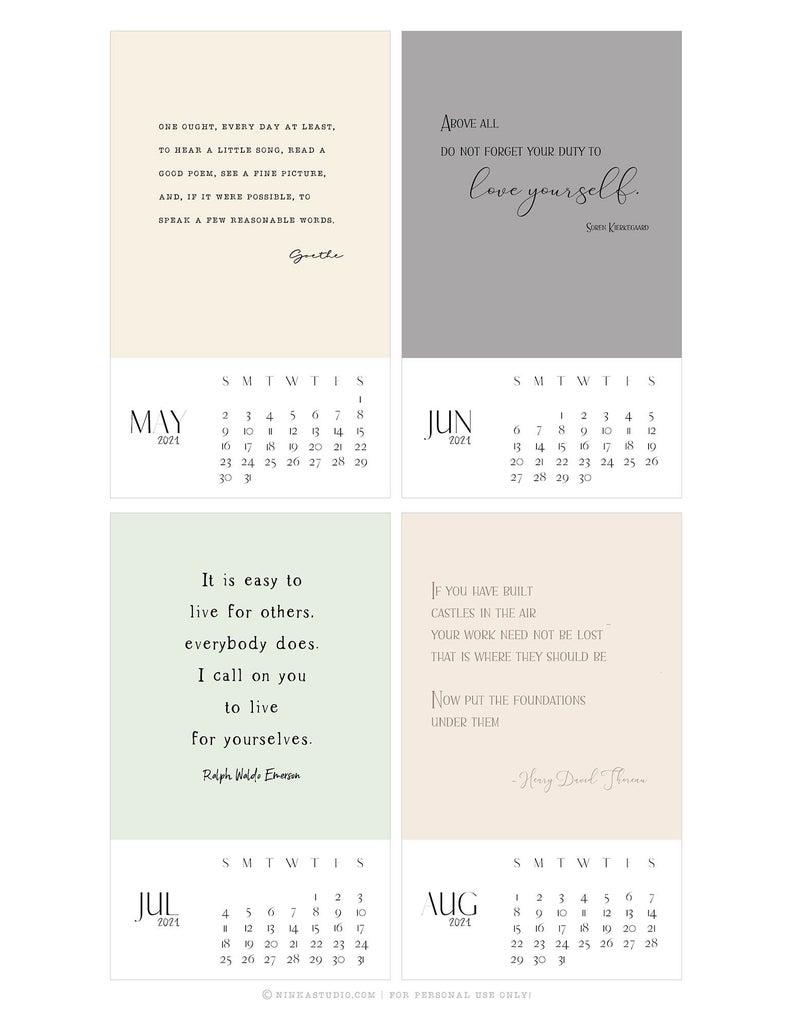 2021 Inspirational Quote Calendar Printable Calendar Cards