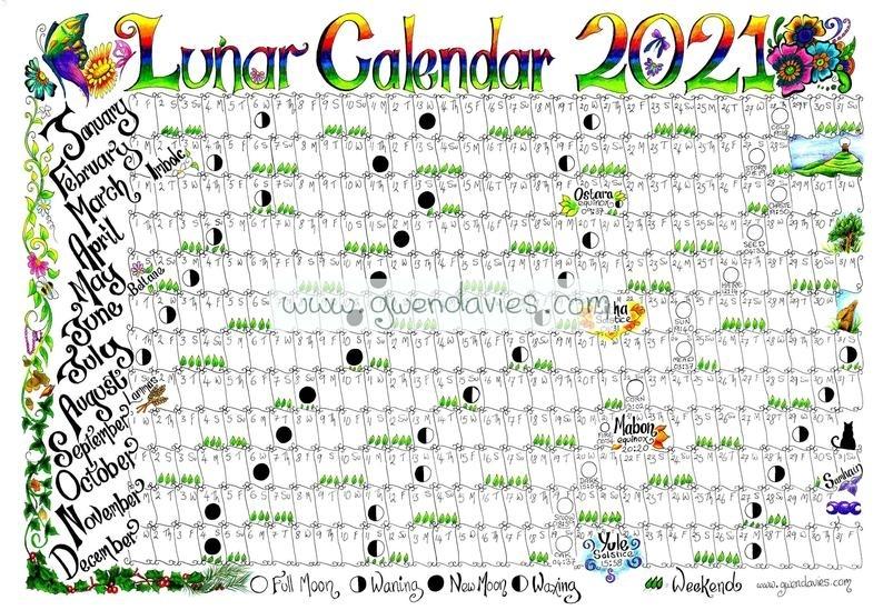 2021 Lunar Moon Calendar Hand Drawn A4 Gardening Astrology