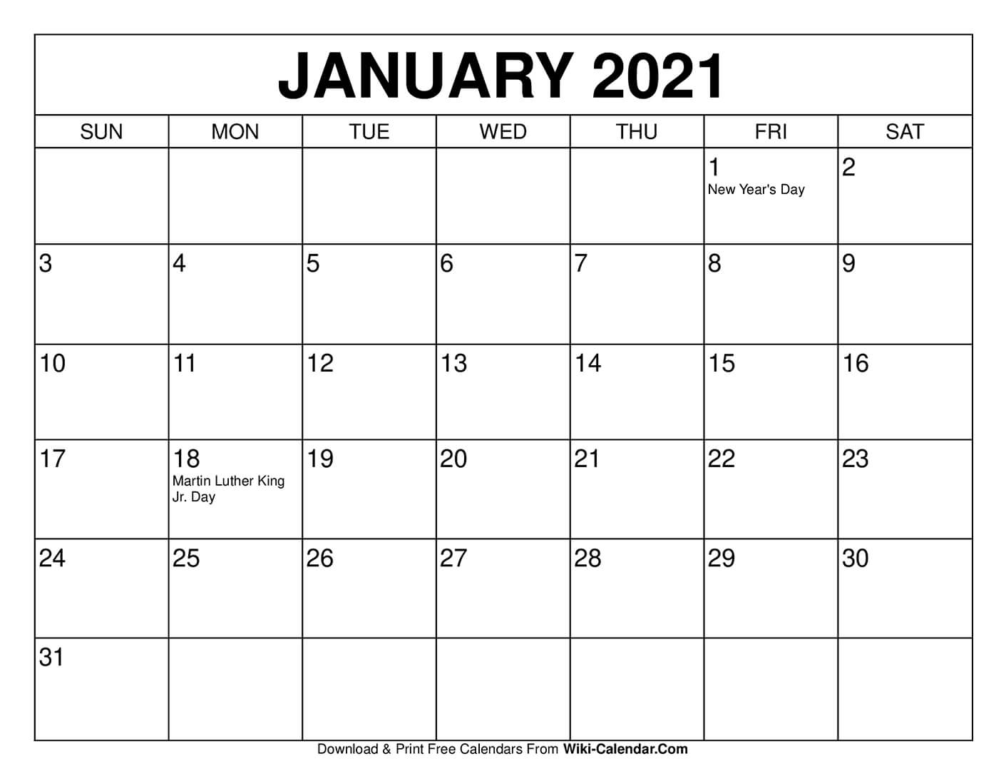 2021 Month Printable Calendar 8 1/2 X 11 | Printable
