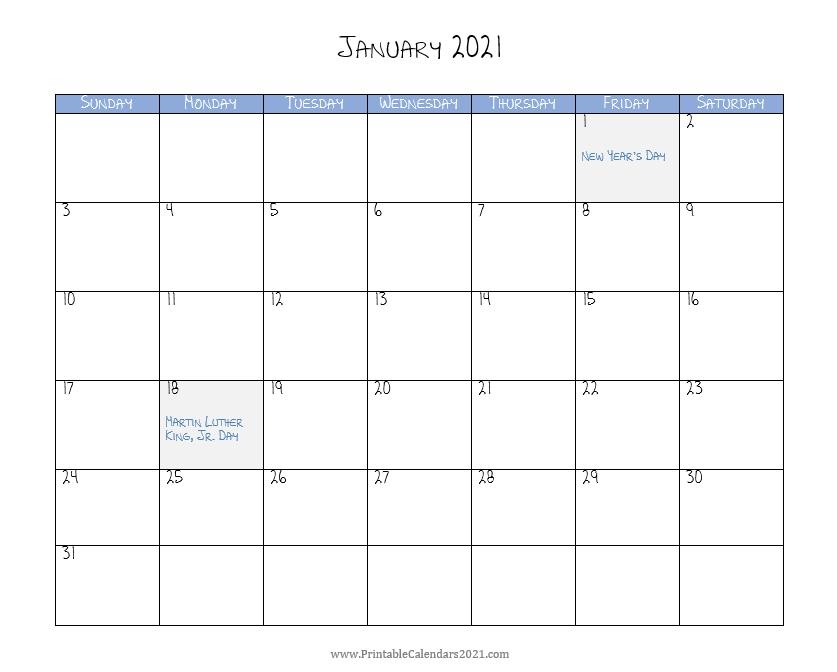 2021 Monthly Calendar Printable Word / 2021 Calendar (Pdf