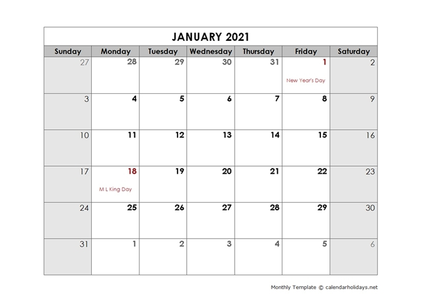 2021 Monthly Template - Calendarholidays