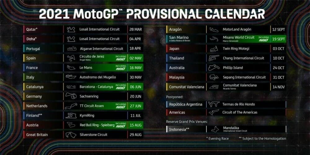 2021 Motogp Schedule - Updated - Cycle News