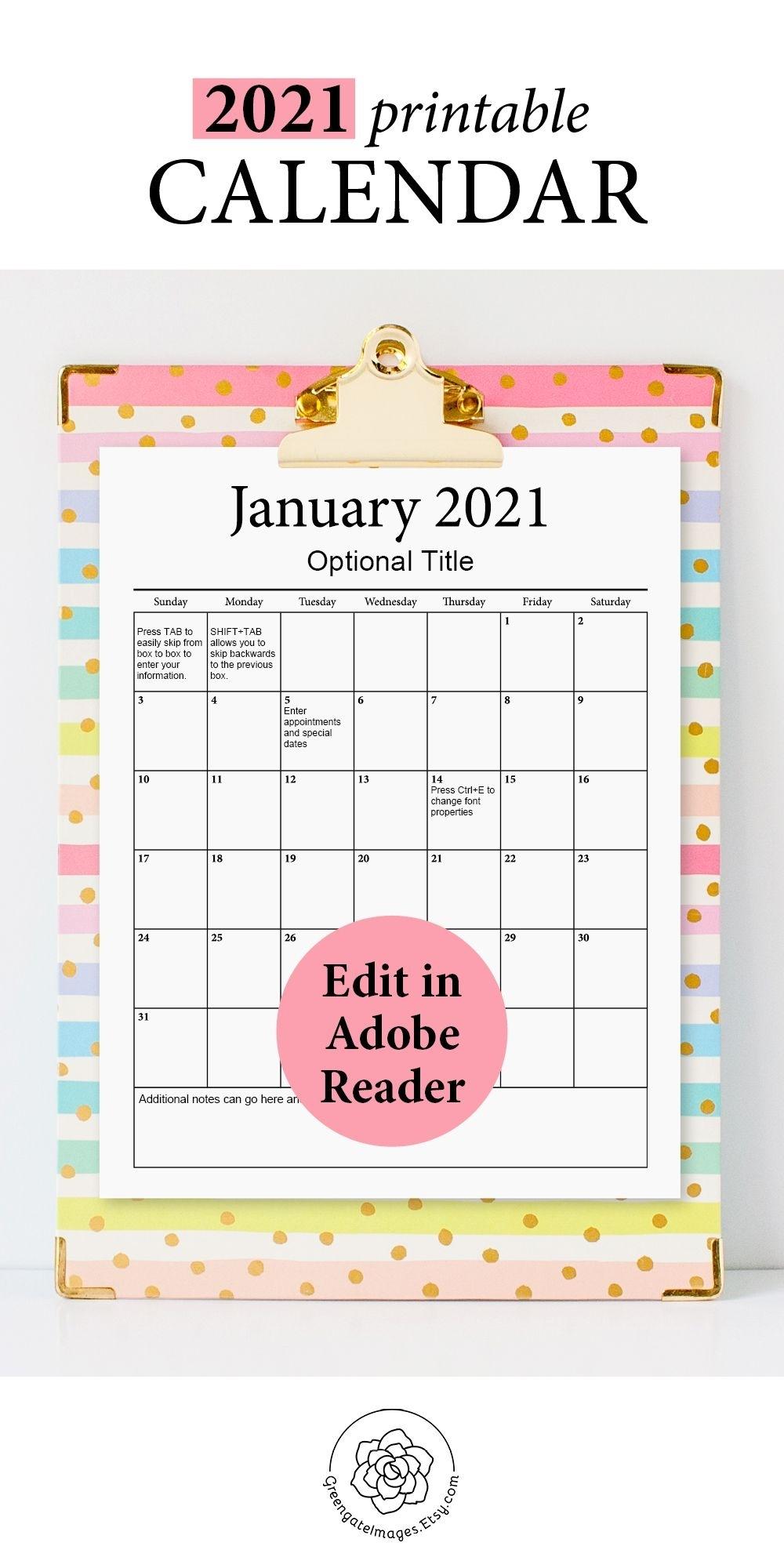 2021 Printable Calendar - Fillable Planner, Editable Pdf