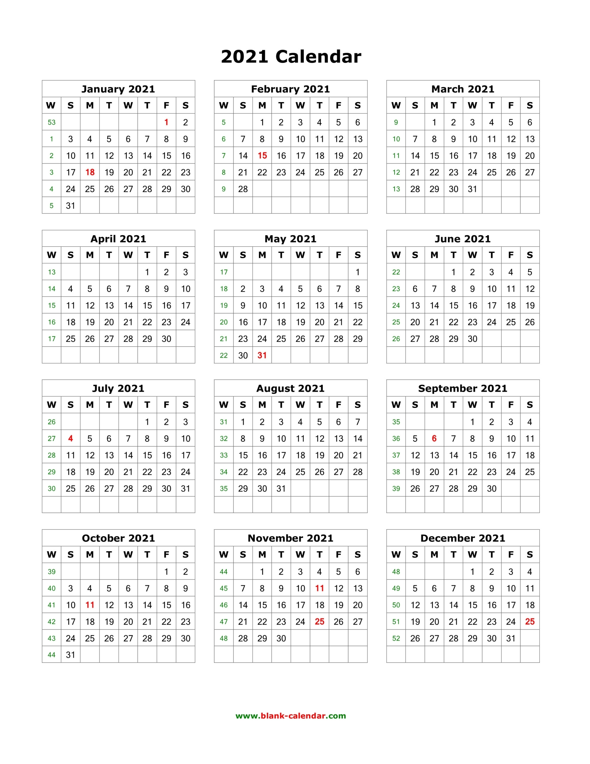 2021 Printable Calendar Portrait | Printable Calendars 2021