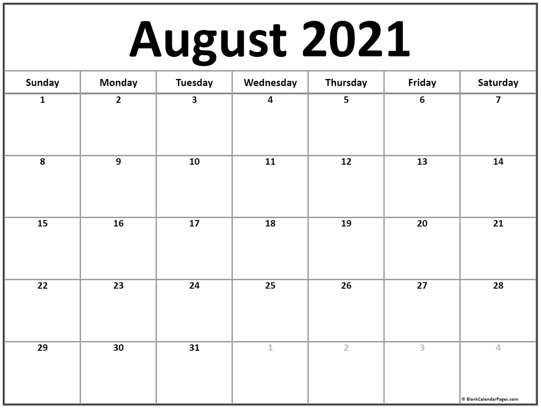 2021 Printable Monthly Calendar | Ten Free Printable