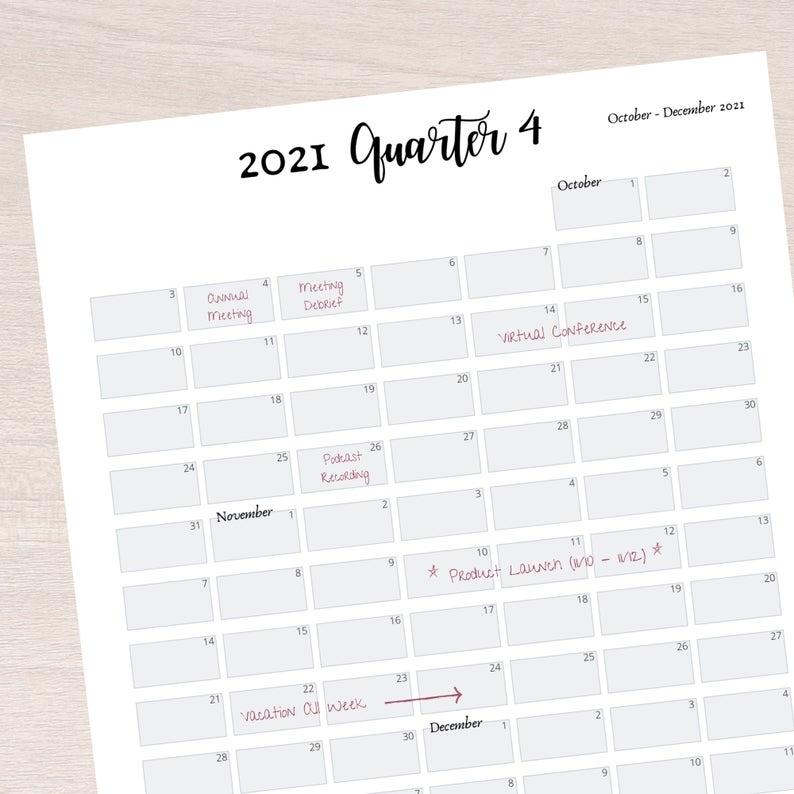 2021 Quarter At A Glance Printable 2021 Quarterly Overview
