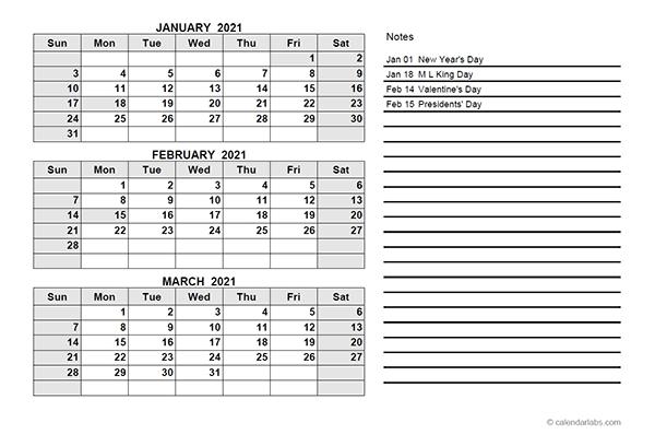 2021 Quarterly Calendar Pdf - Free Printable Templates