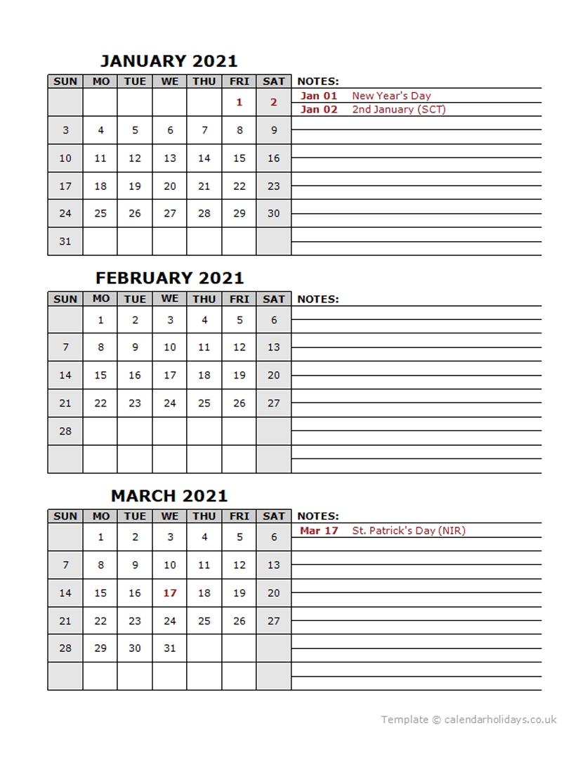 2021 Quarterly Template - Calendarholidays.co.uk
