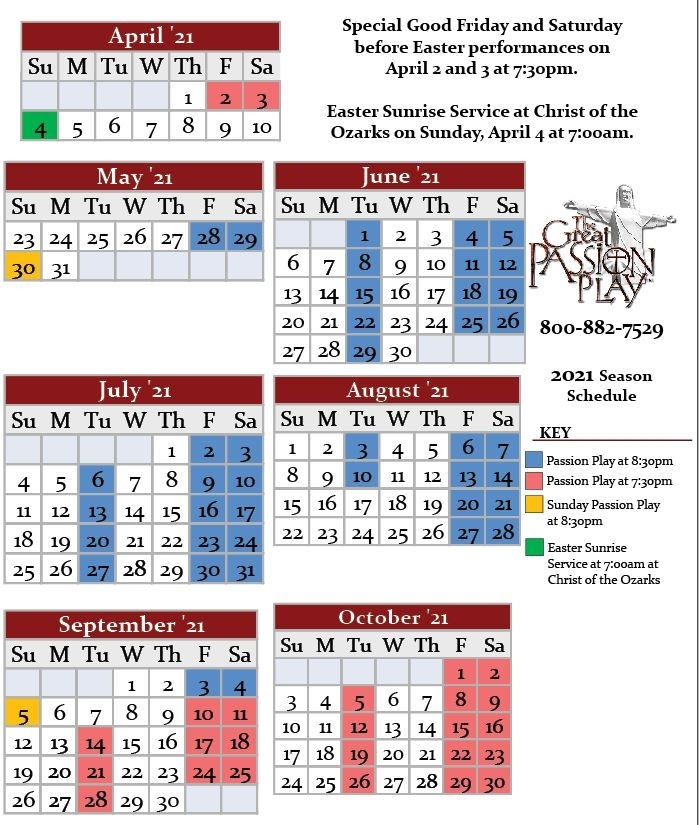 2021 Season Schedule - The Great Passion Play