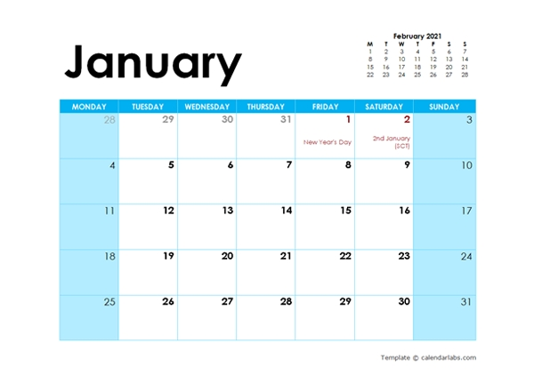 2021 Uk Monthly Calendar Colorful Design - Free Printable
