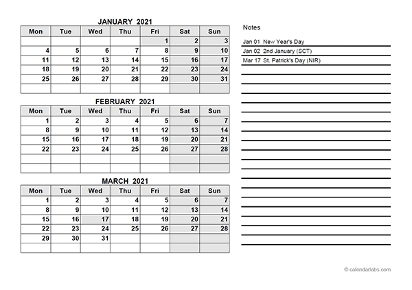 2021 Uk Quarterly Calendar With Holidays - Free Printable