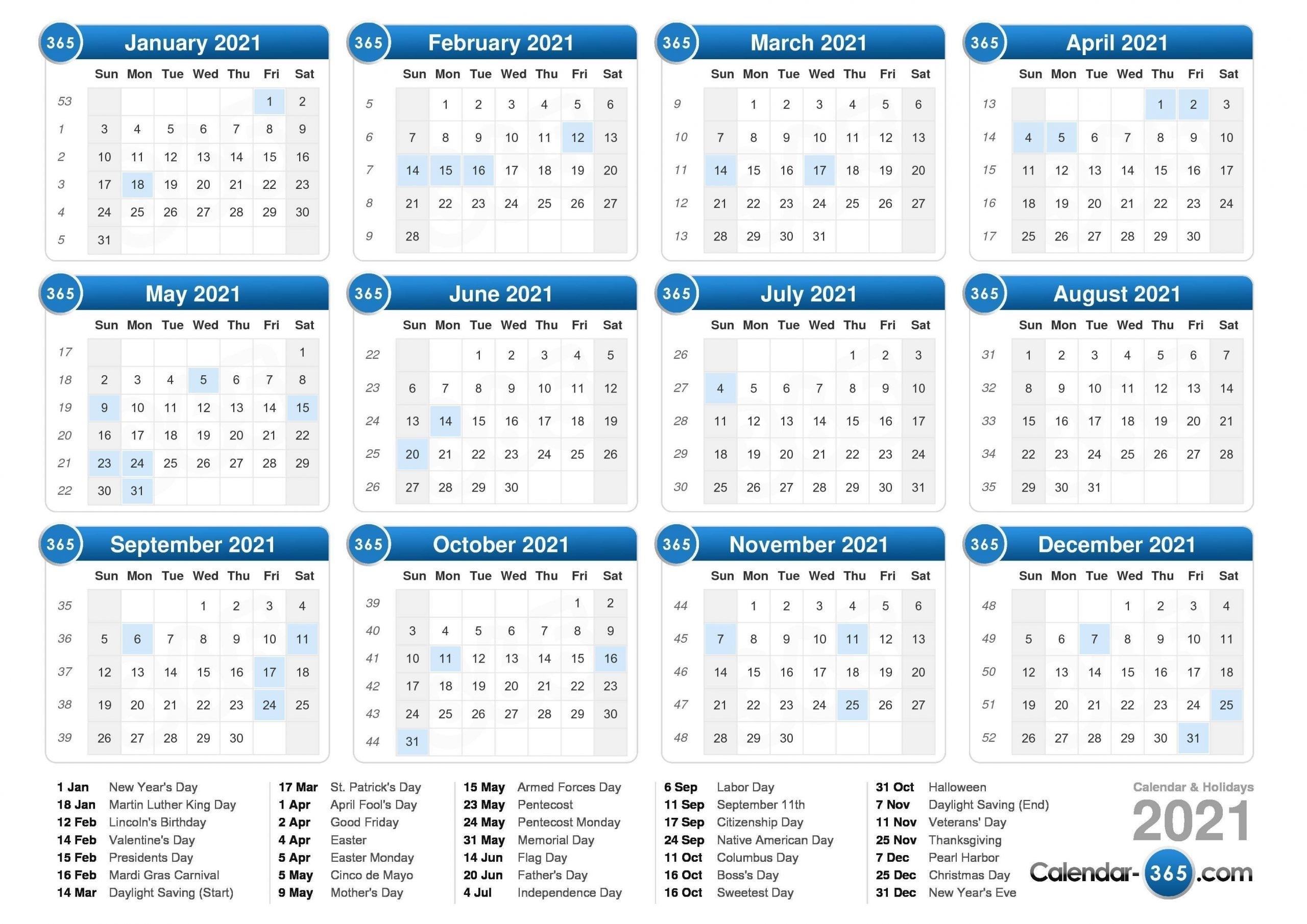 2021 Vacation Calandar | Calendar Template Printable