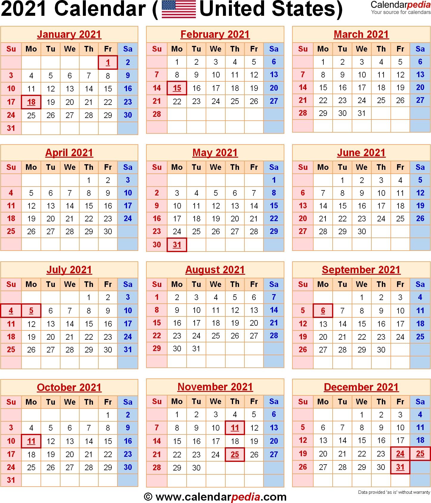 2021 Vacation Calendars | Calendar Printables Free Templates