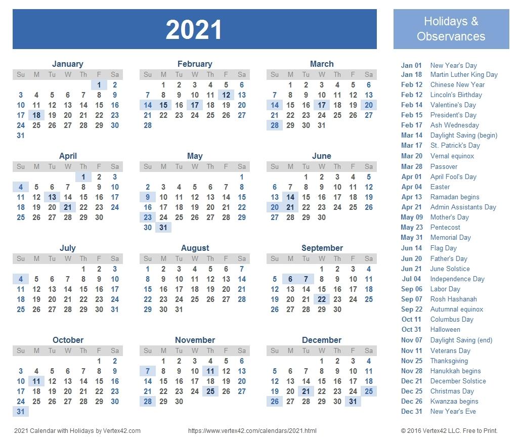 2021 Vacation Schedule | Calendar Template Printable