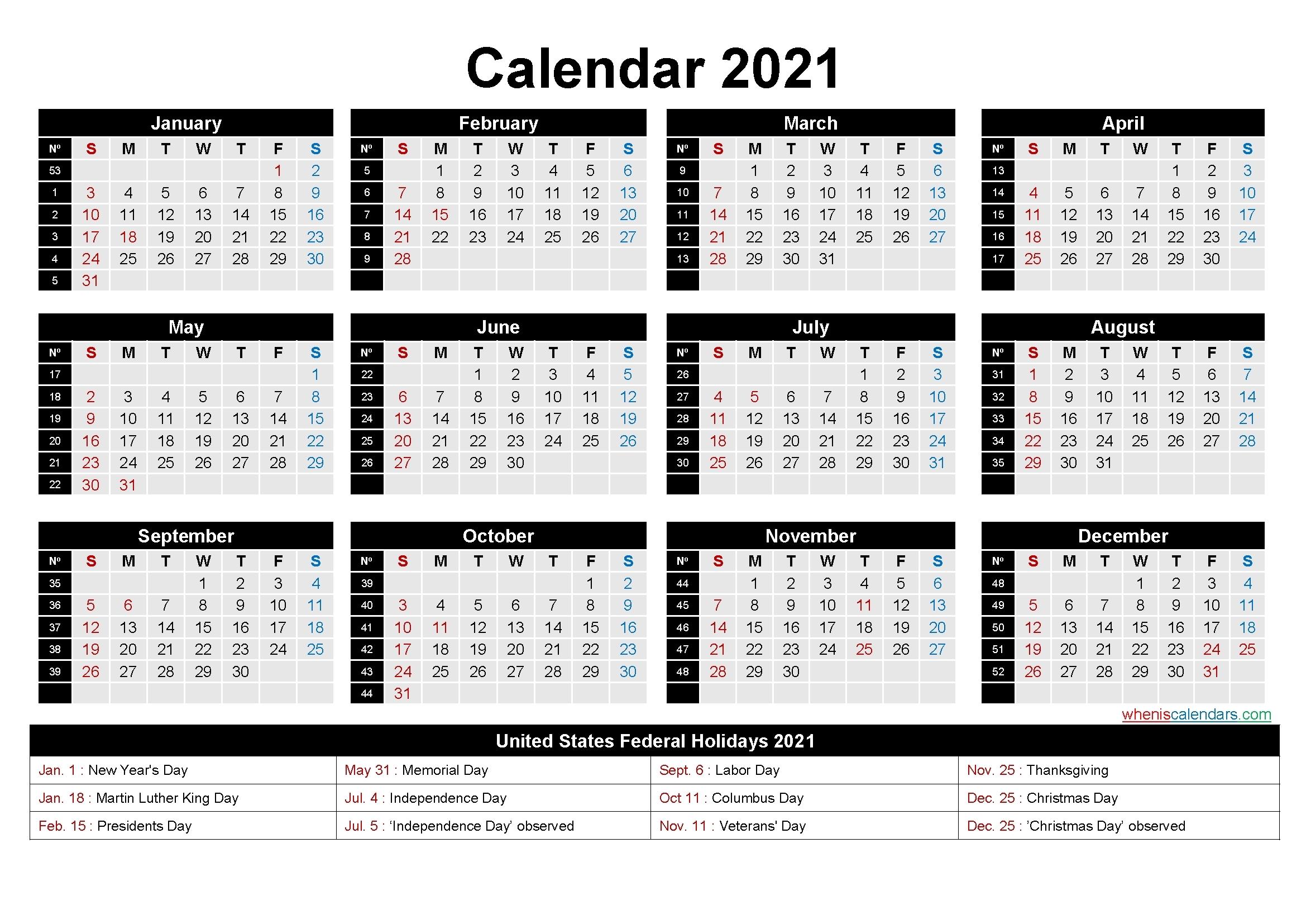 2021 Work Week Calendar Printable | Best Calendar Example