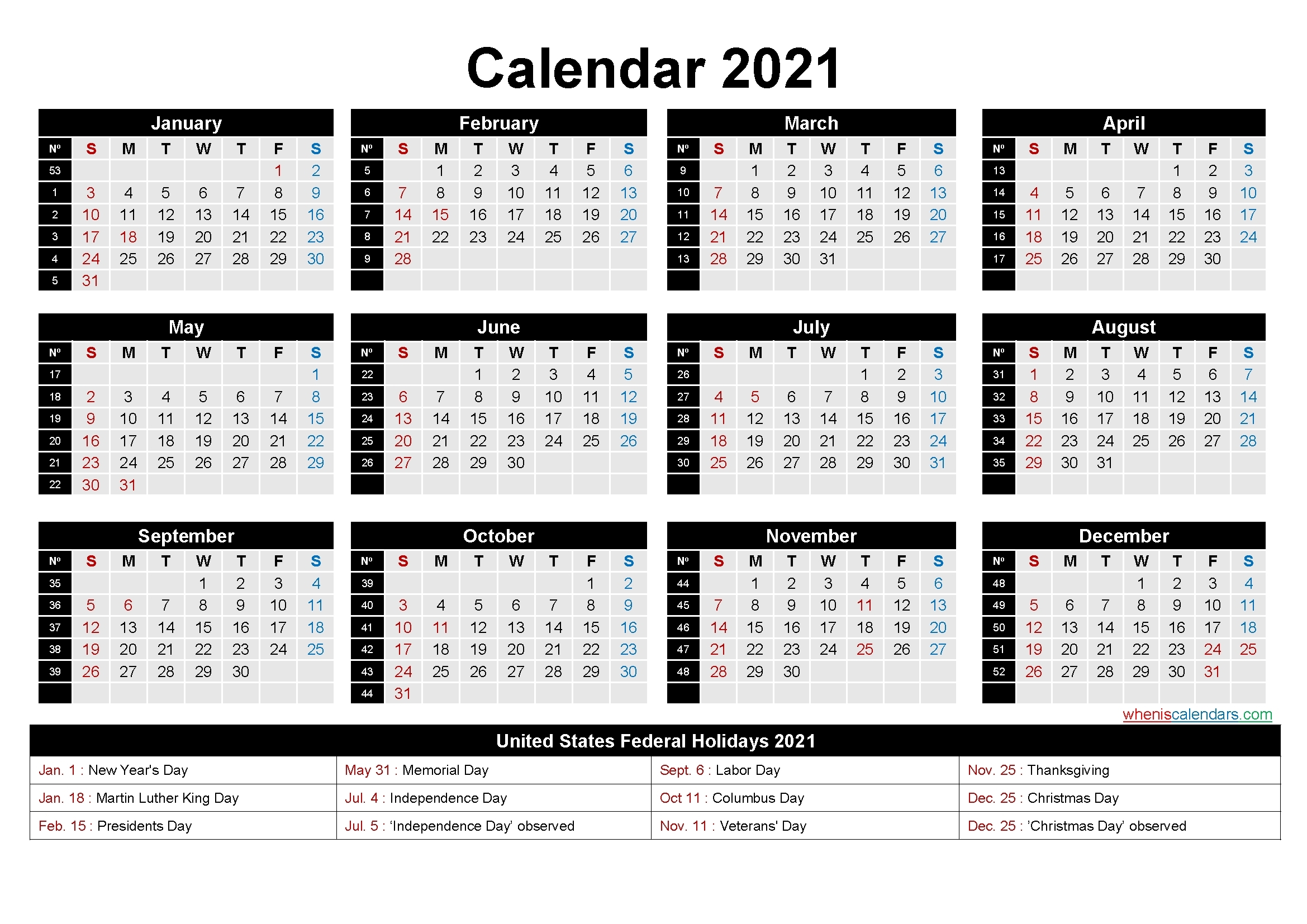 Weeks Of The Year 2021