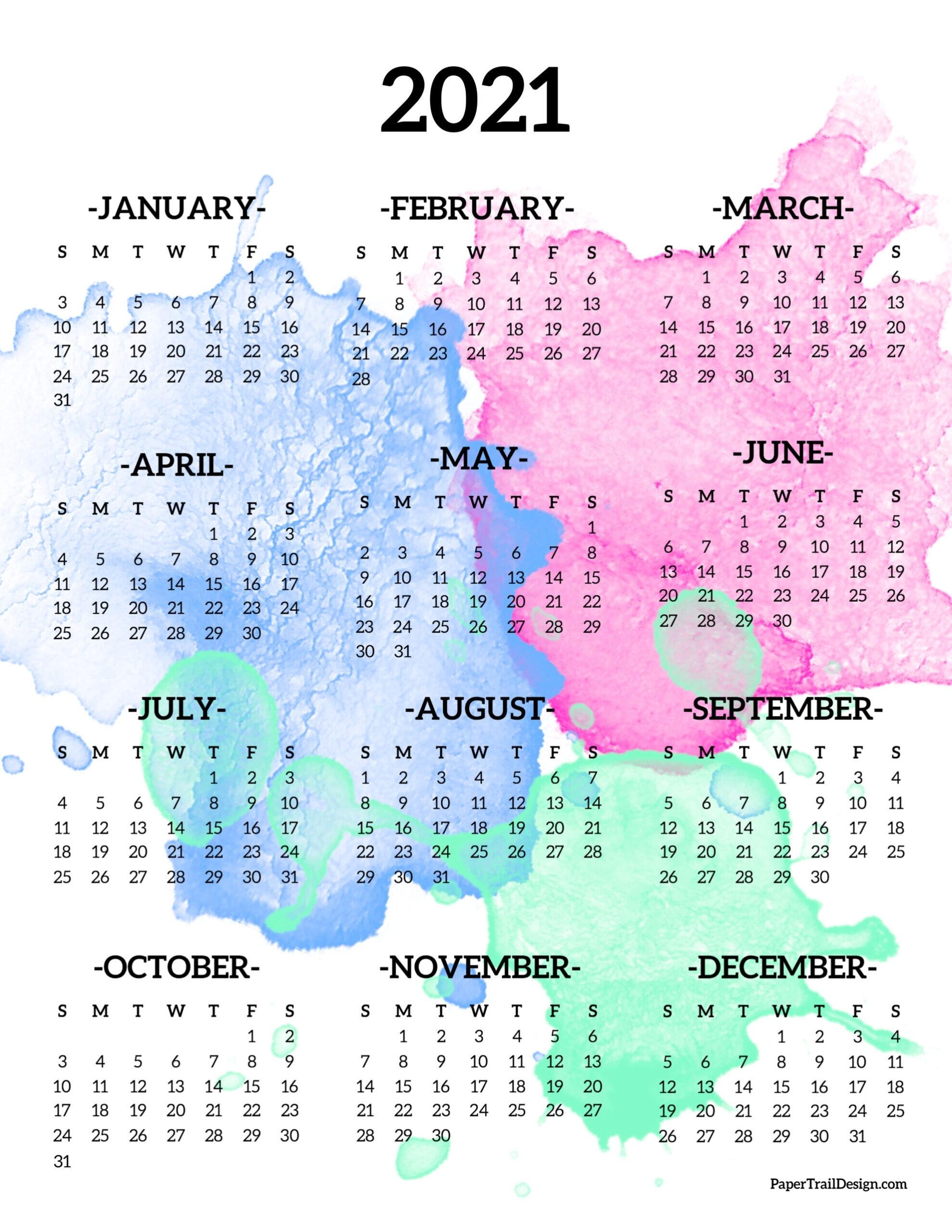 2021 Year At A Glance Calendar 2021 Free Printable