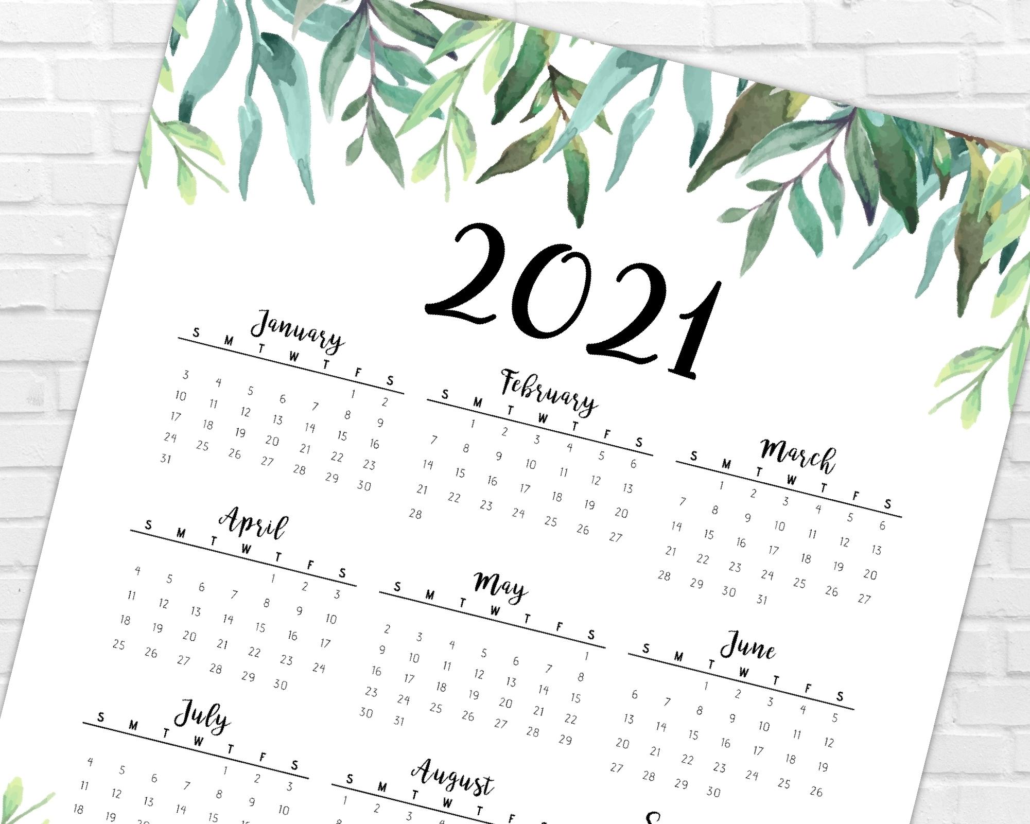 2021 Year At A Glance Calendar | Greenery & Leaves