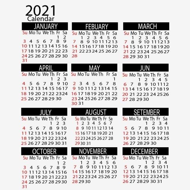 2021 Year Calendar Vertical Design, Calendar, 2021