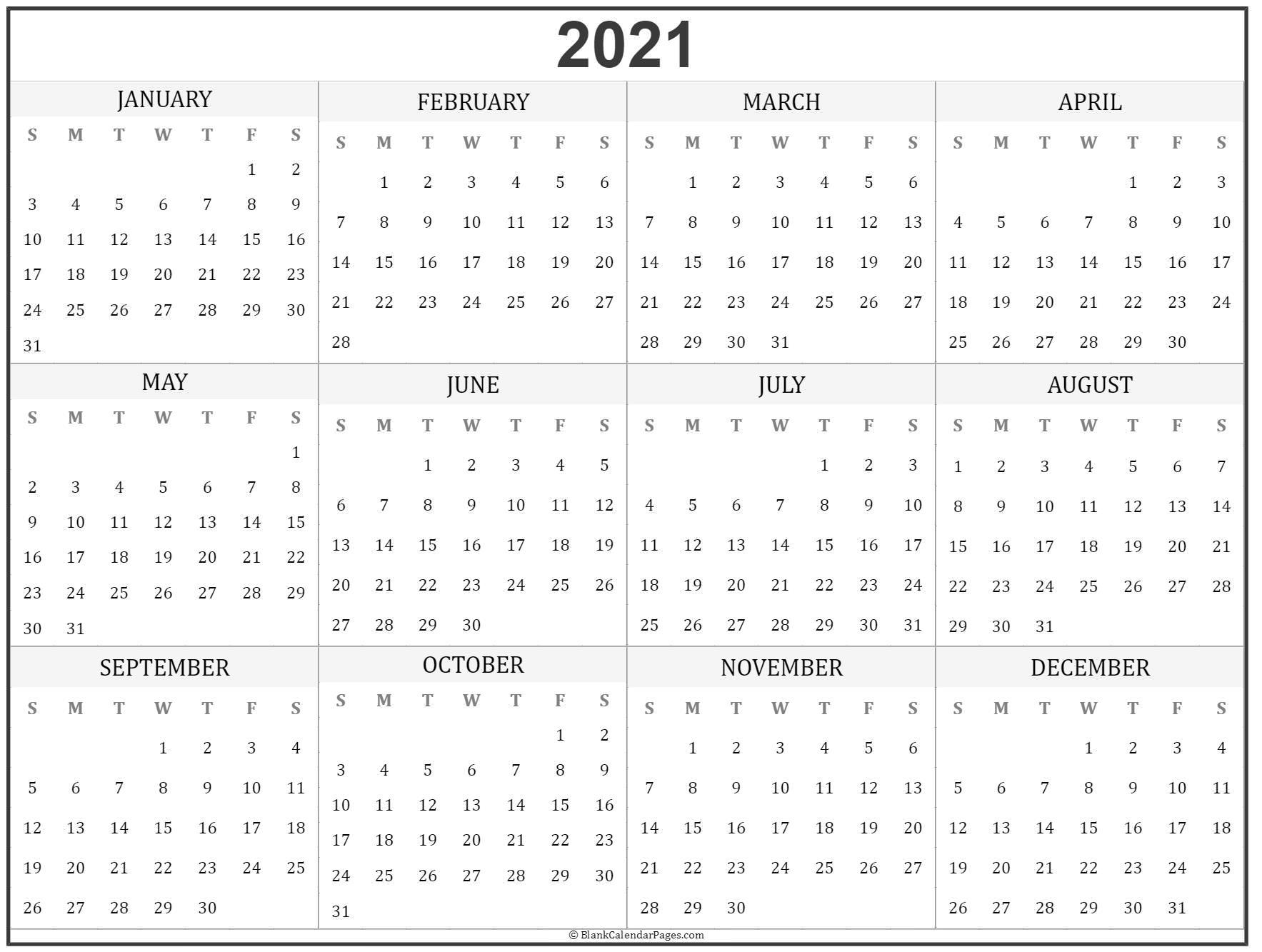 2021 Year Calendar | Yearly Printable