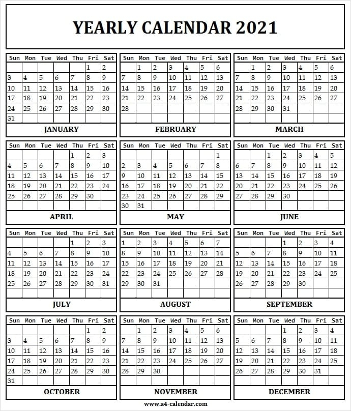 2021 Yearly Calendar Printable One Page - A4 Calendar