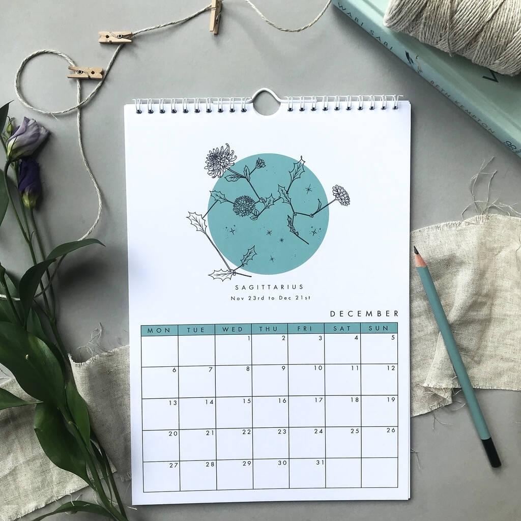 2021 Zodiac Constellation And Birth Flowers Calendar
