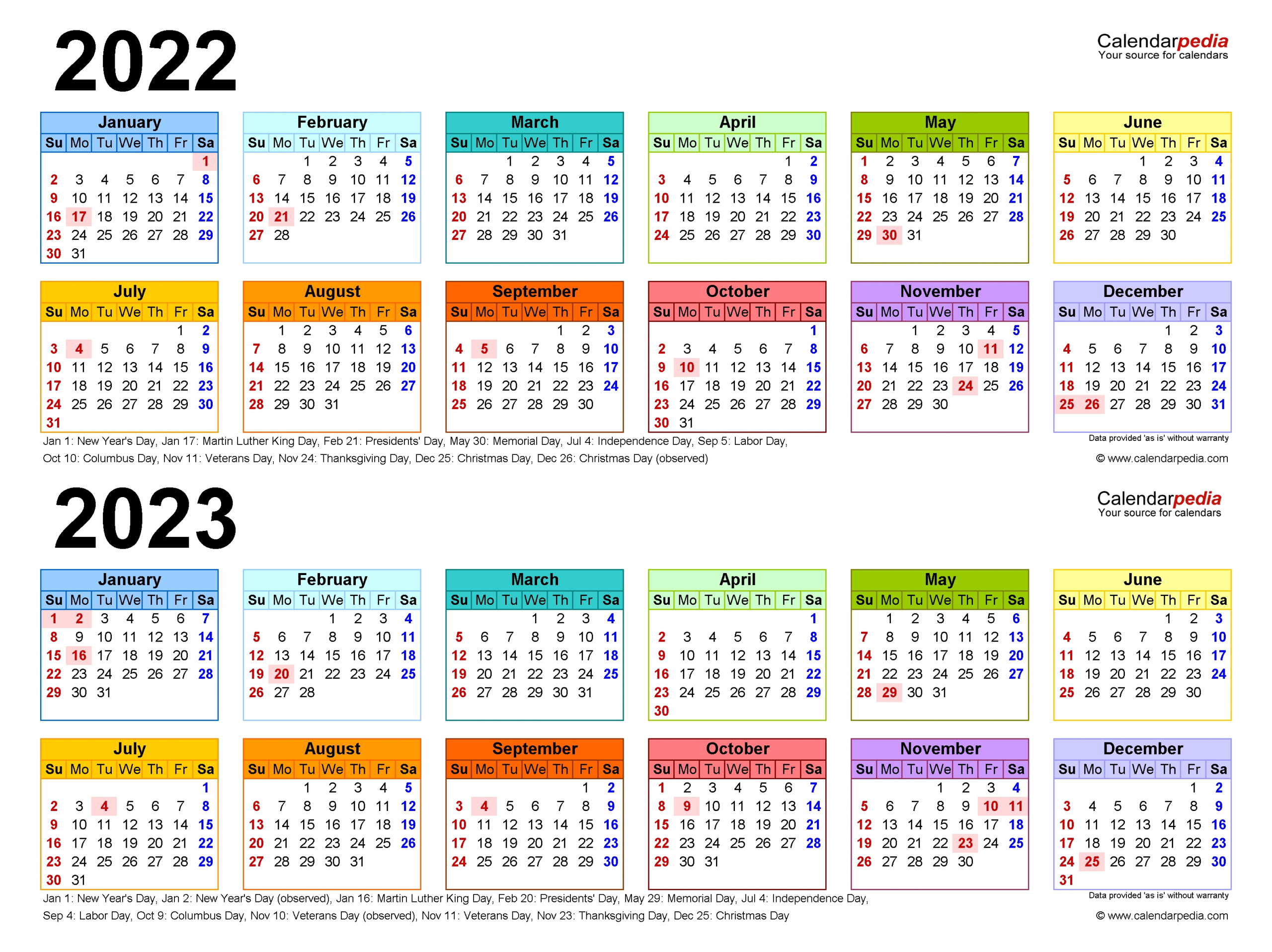 2022-2023 Two Year Calendar - Free Printable Pdf Templates