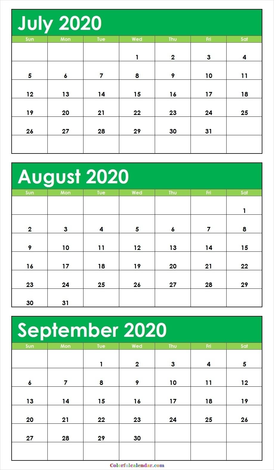 3 Month Calendar 2020 Printable | Calendar Template 2021