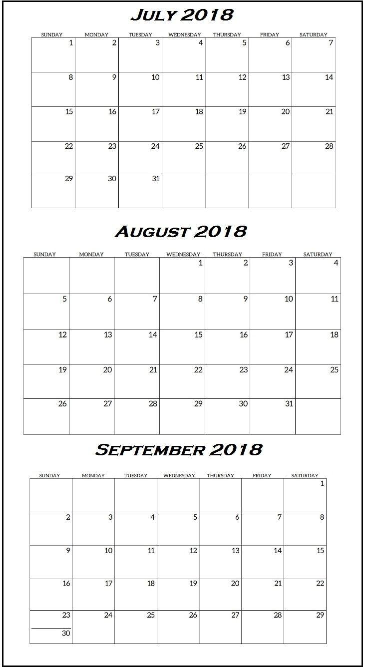 3Rd Quarter 2018 Calendar | Calendar Printables, Calendar