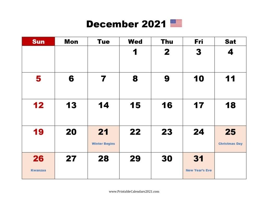 40+ December 2021 Calendar Printable, December 2021