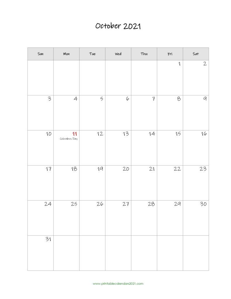 42+ October 2021 Calendar Printable, October 2021 Calendar