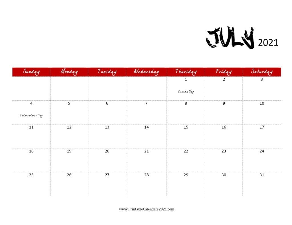 45+ July 2021 Calendar Printable, July 2021 Calendar Pdf