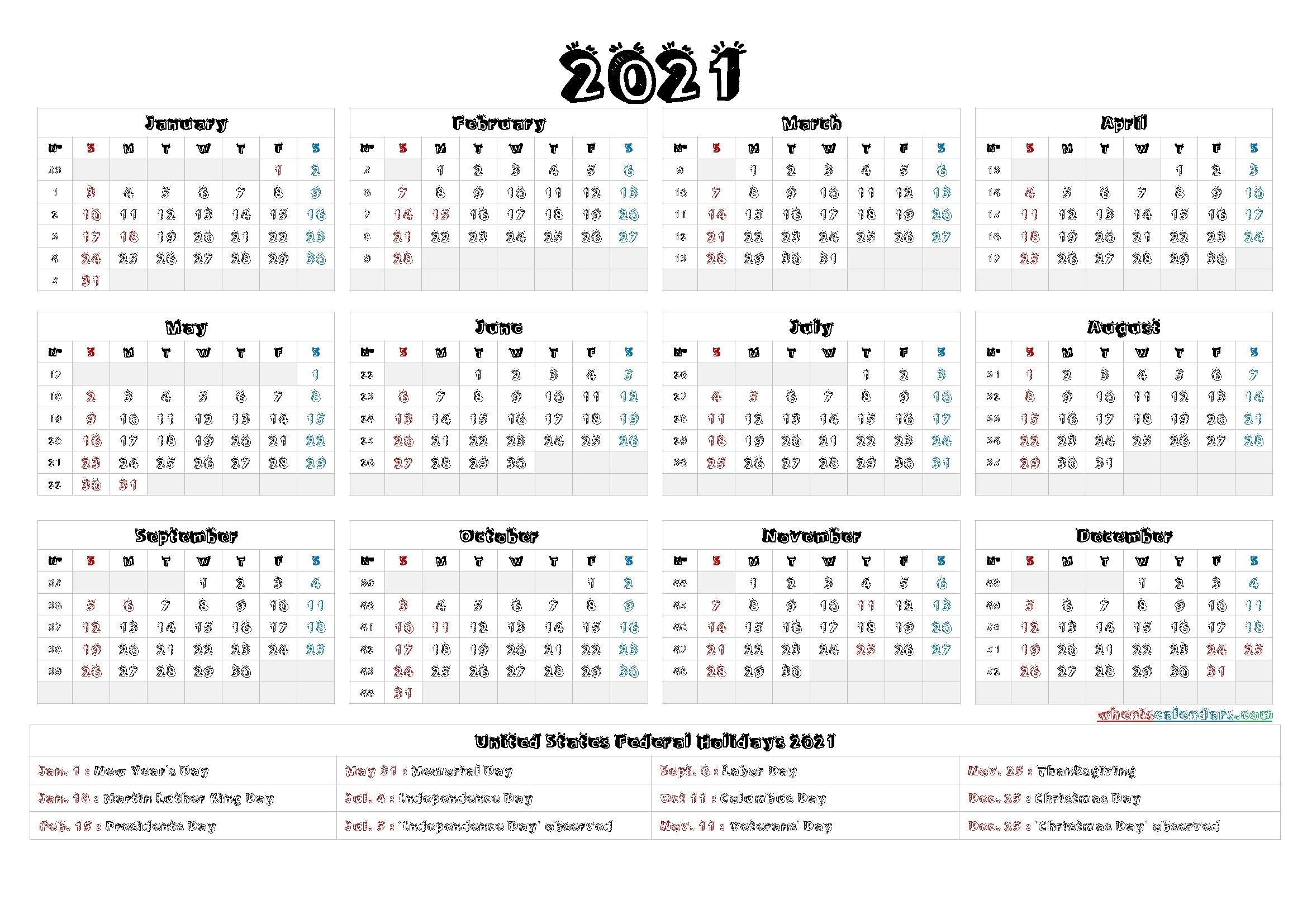 4Mmonth Calendar On One Page 2021 - Example Calendar Printable