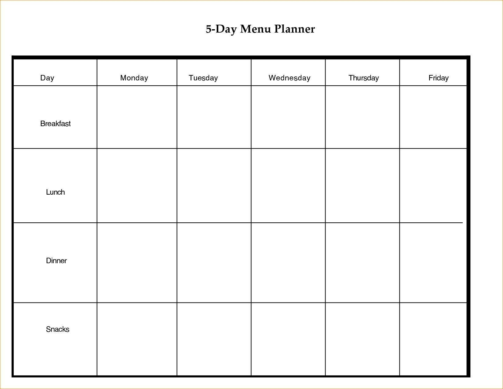 5 Day Weekly Calendar Template - Calendar Inspiration Design