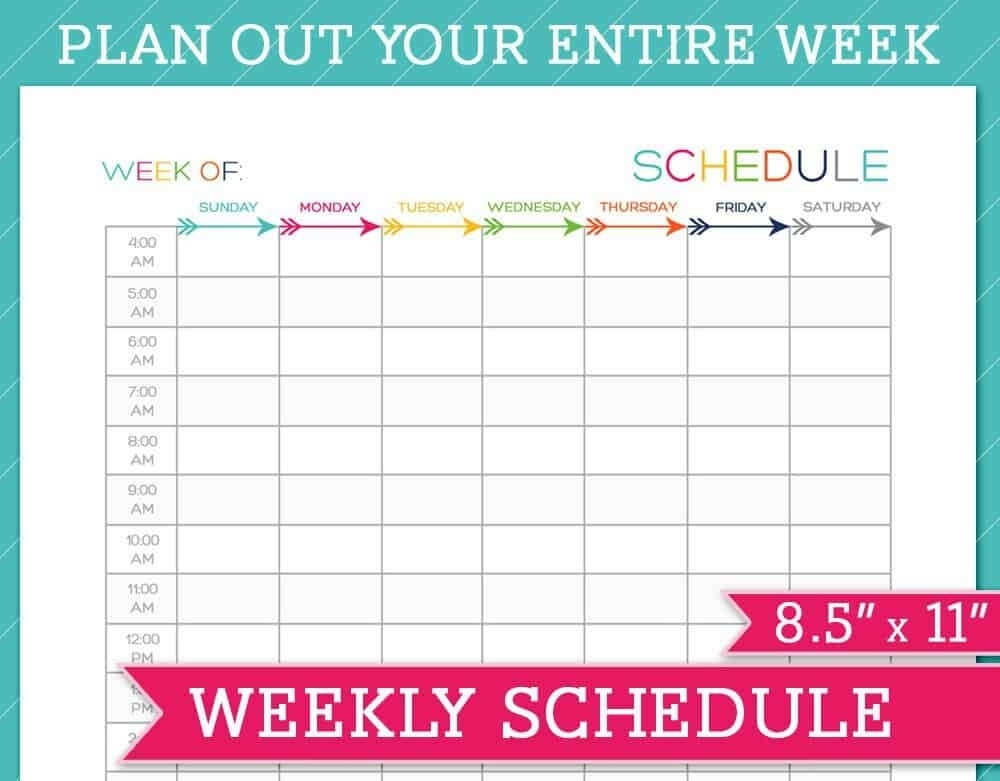 5 Weekly Schedule Templates - Excel Pdf Formats