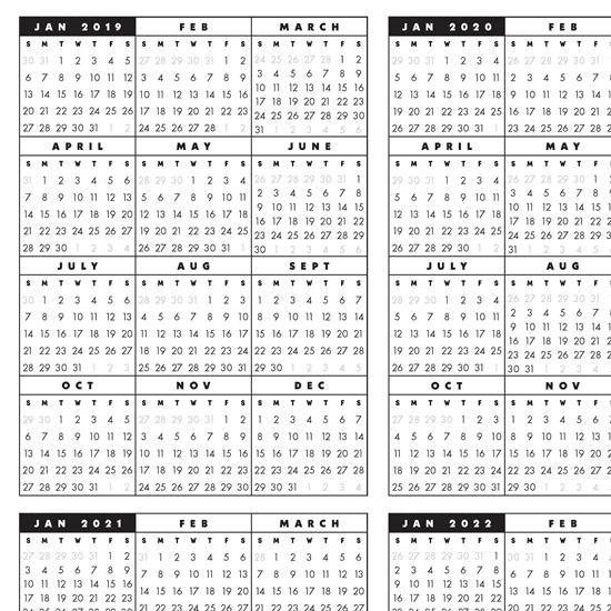 5 Year Calendar Printable - Calendar Templates