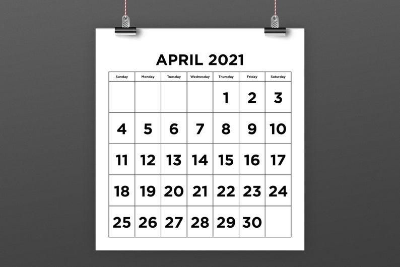 8.5 X 11 & 8.5 X 8 Inch 2021 Calendar Template Instant | Etsy