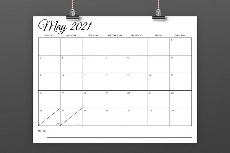 8.5 X 11 Inch 2021 Calendar Template Instant Download | Etsy