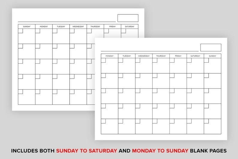 8.5 X 11 Inch Blank Calendar Page Template Instant