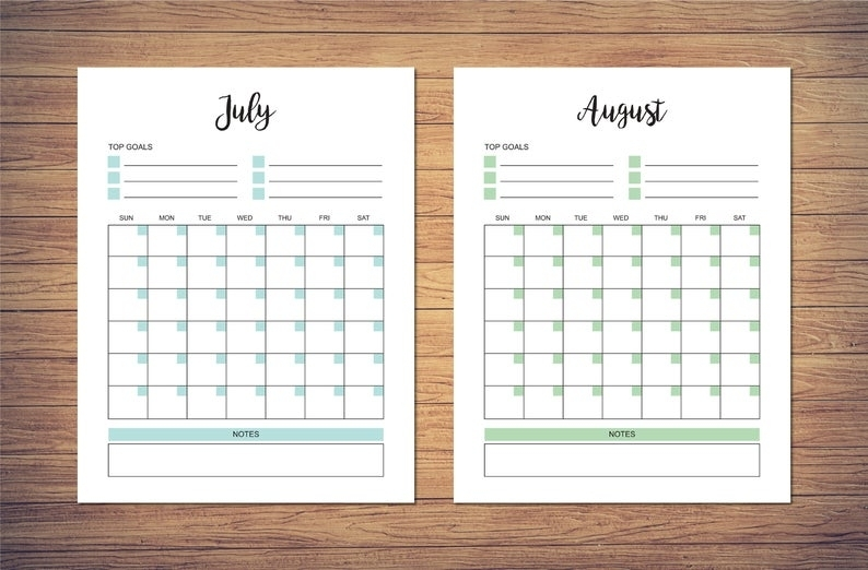 8.5 X 11 Inch Blank Monthly Calendar Page Template Instant