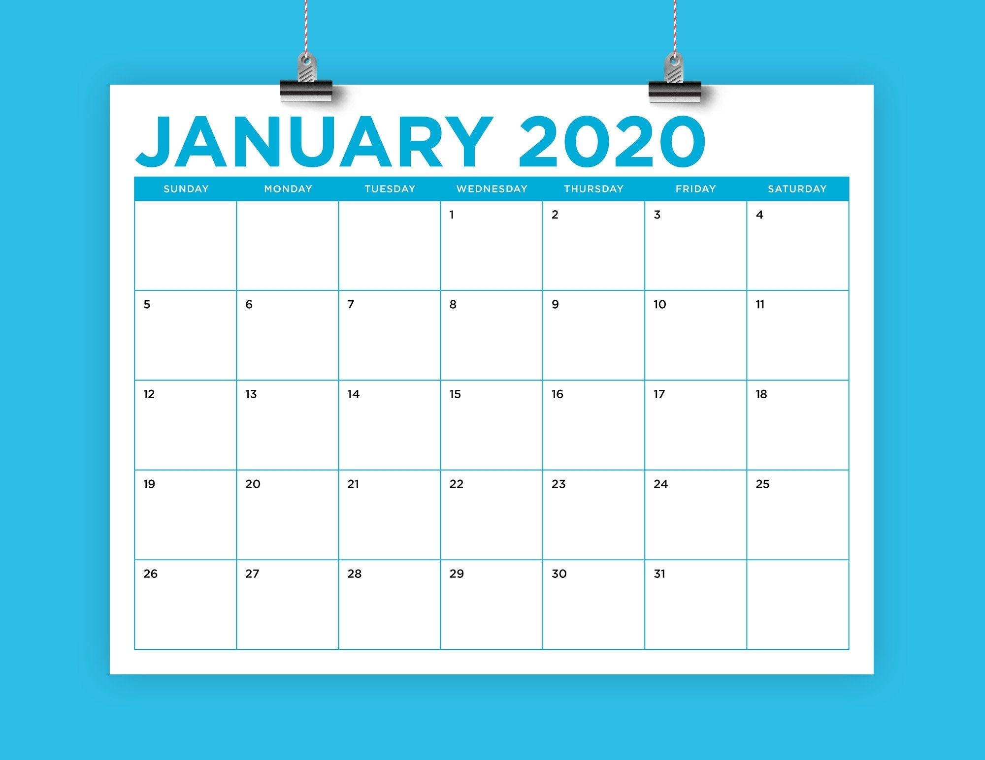 8.5 X 11 Inch Color 2020 Calendar Template Instant
