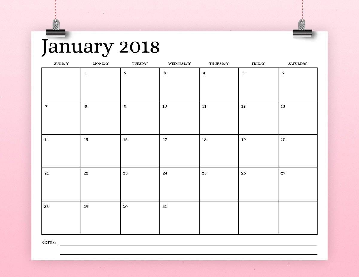 8.5X11 Inch 2018 Calendar Template Instant Download Serif