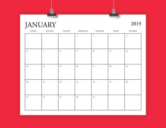8X10 Inch 2019 Calendar Template Fits 8.5 X 11 | Etsy