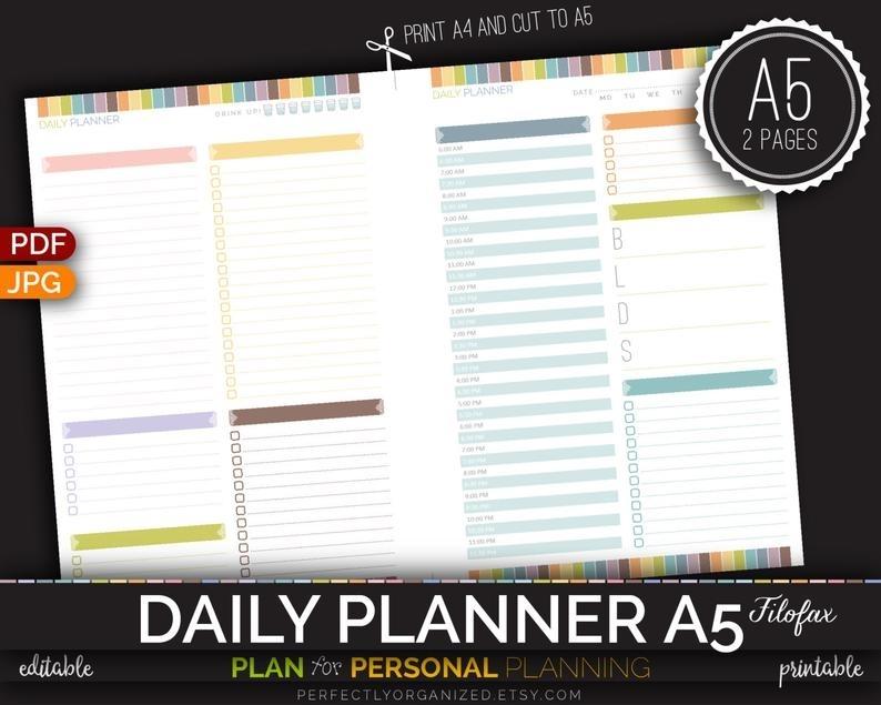 A5 Filofax Daily Planner Binder Organizer Calendar